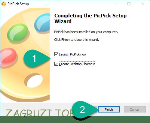 Кнопка Finish