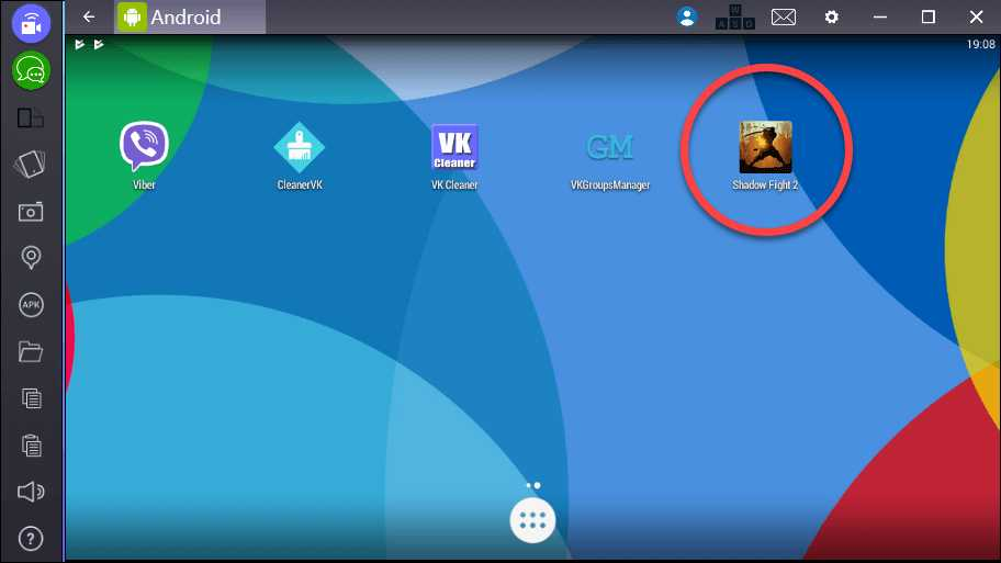 Иконка Shadow Fight на домашнем экране эмулятора