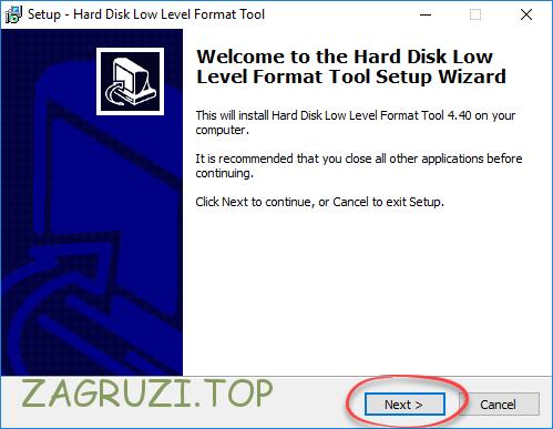 Установка HDD Low Level Format Tool