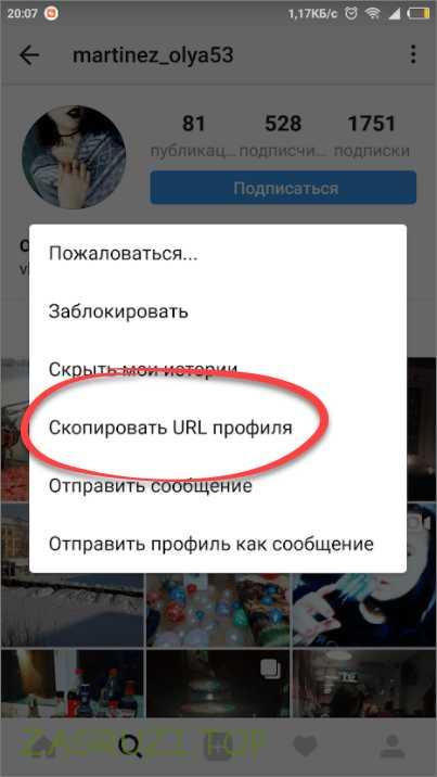 Копирование URL профиля
