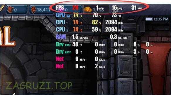 Отображение частоты кадров в FPS Monitor