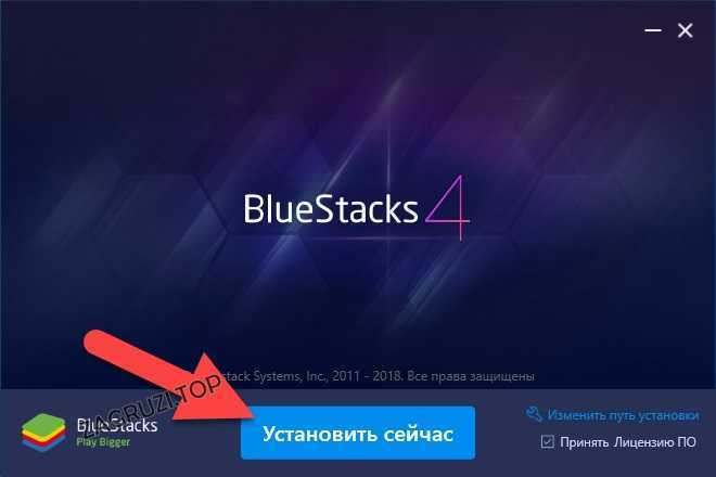 Кнопка установки БлюСтакс 4