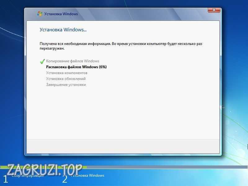 Процесс установки Windows 7 с флешки