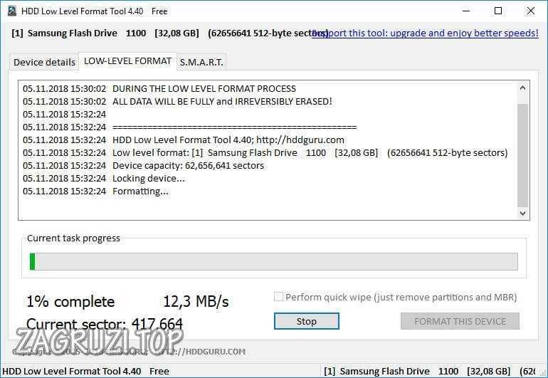 Форматирование в HDD Low Level Format Tool