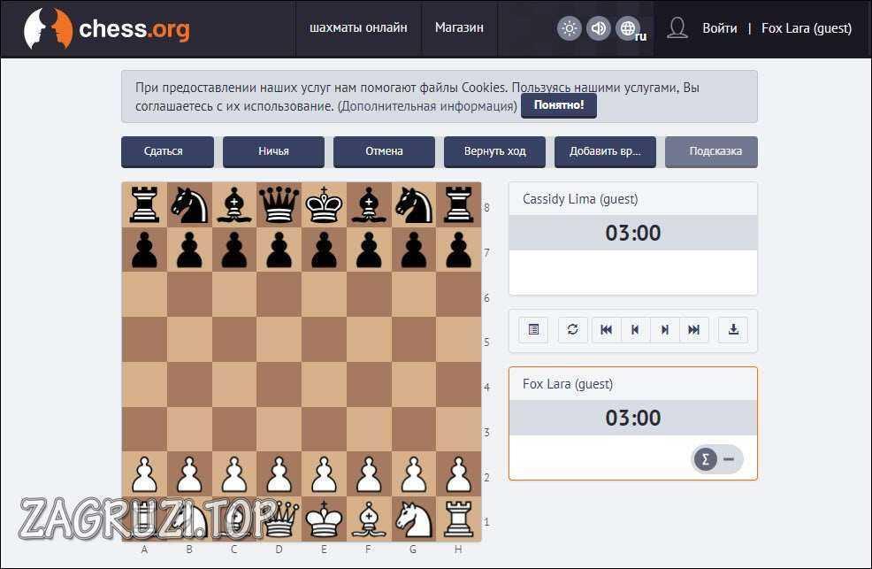 Игра в Chess.org