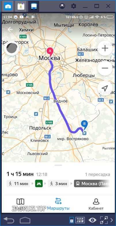 Маршрут на карте Яндекс Транспорт