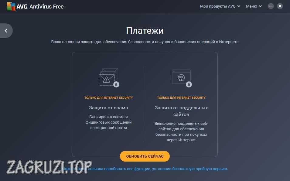 Вкладка защиты платежей AVG AntiVirus FREE