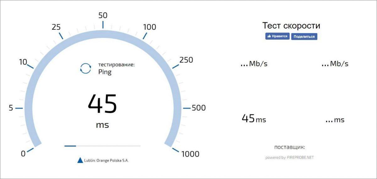 Замер скорости подключения к сети через Testskorosti.ru
