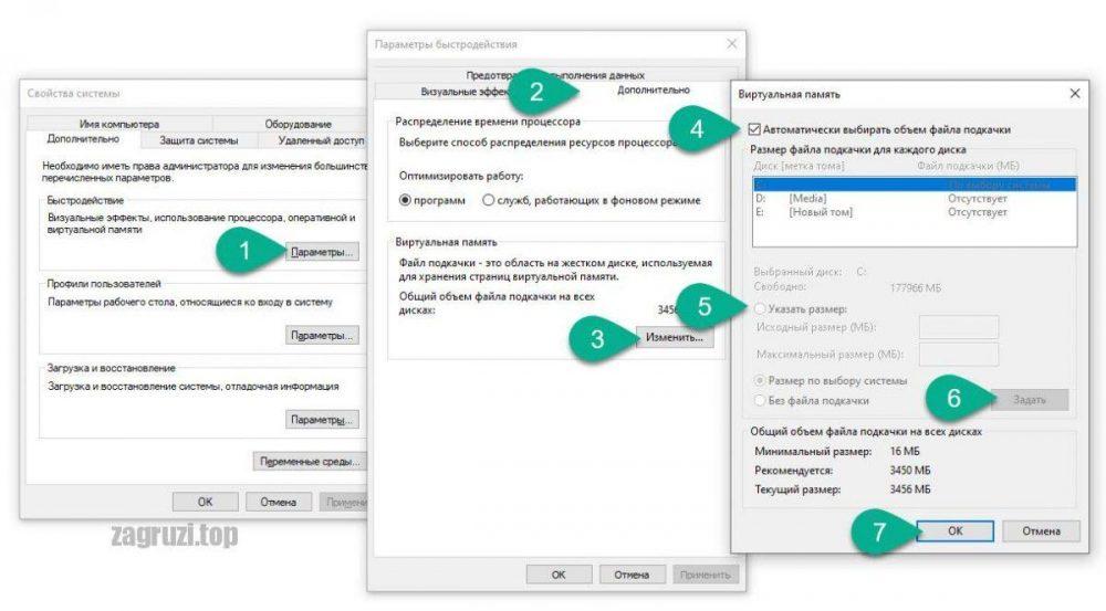 Регулирование файла подкачки