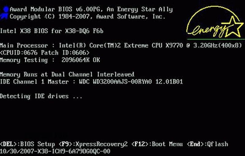 Проверка настроек BIOS