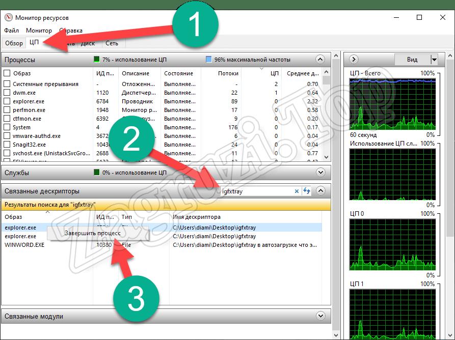 Остановка процесса в Windows 10 через монитор ресурсов