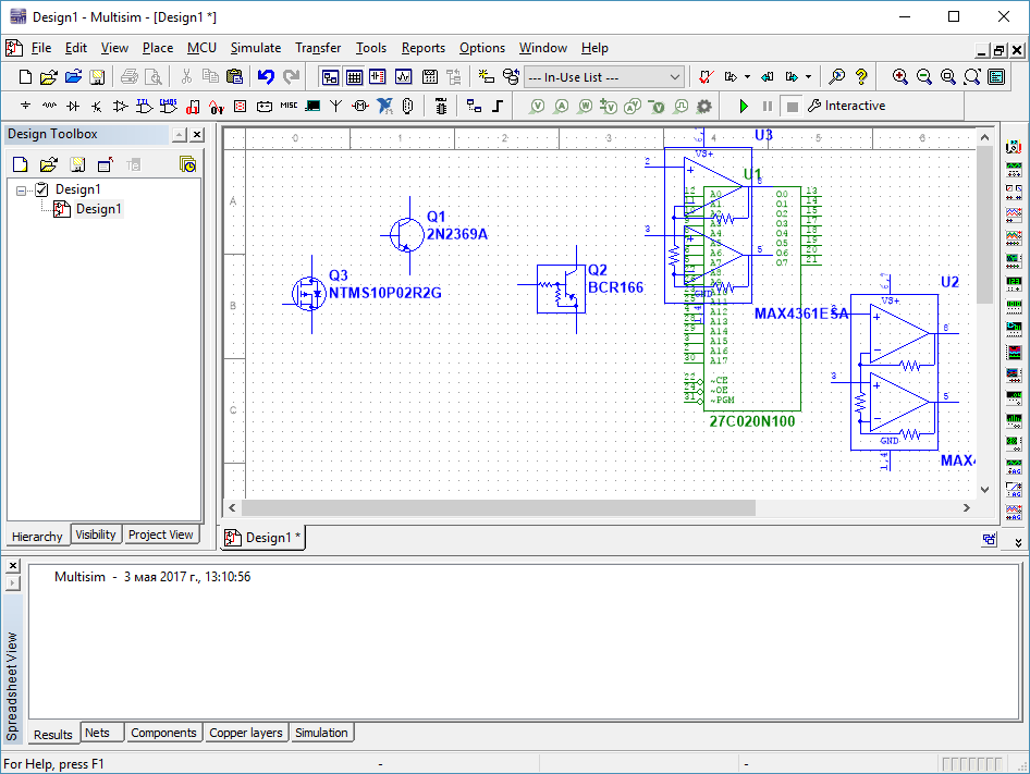 Программный интерфейс Multisim