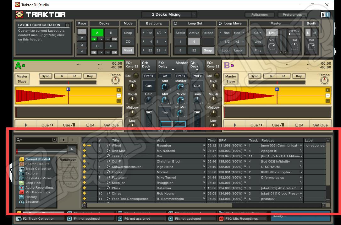 Нижний блок Traktor DJ Studio