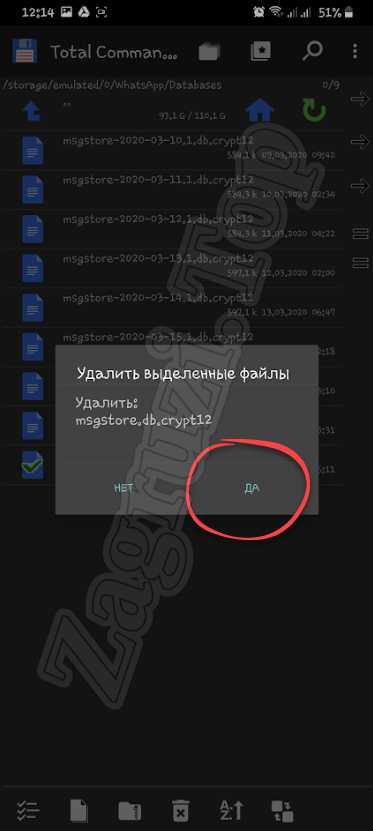 Подтверждение удаления резервной копии WhatsApp