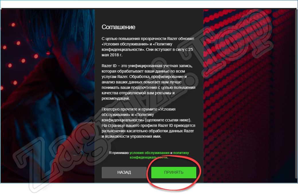 Принятие лицензионного соглашения при входе в Razer Game Booster
