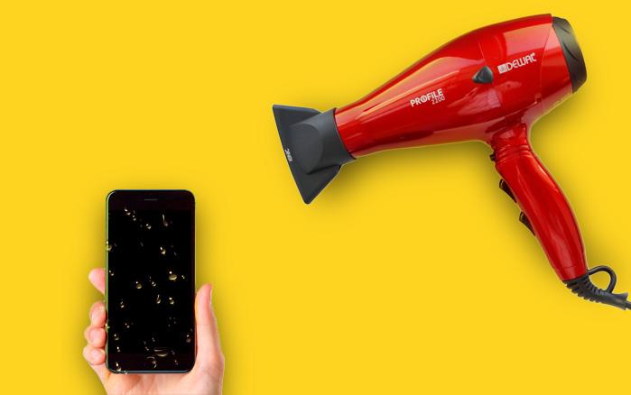 Телефон сушиться феном
