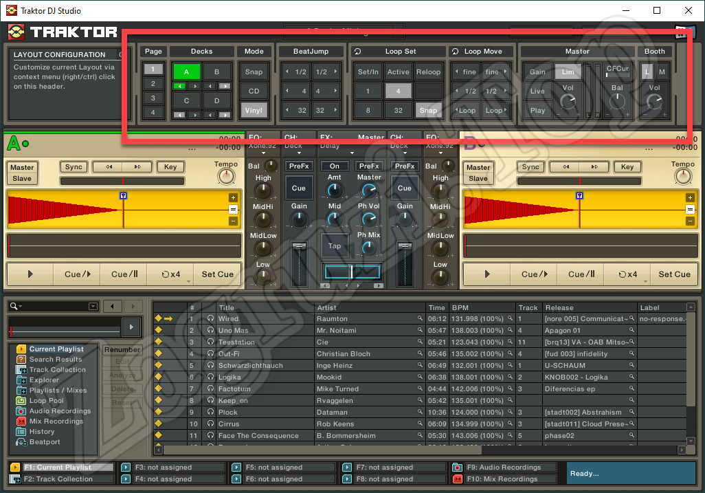Верхний блок Traktor DJ Studio