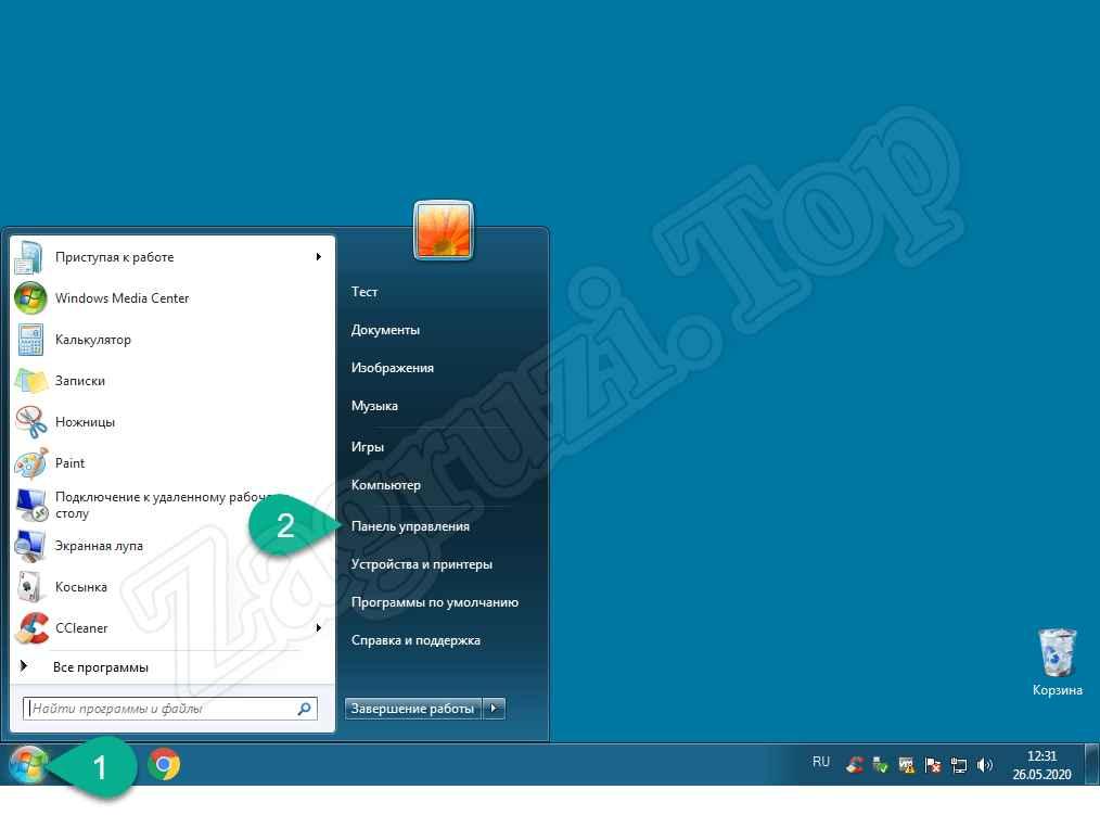 Запуск панели управления OS Windows 7