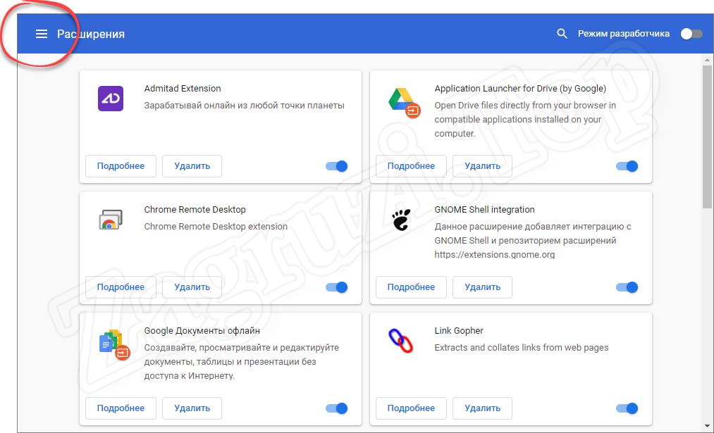 Кнопка меню расширений в Google Chrome