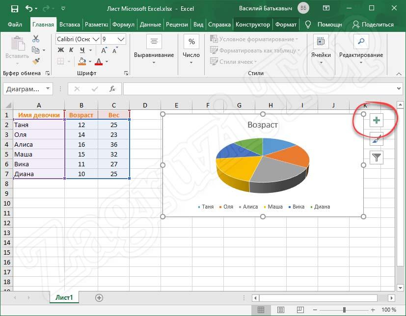 Кнопка настройки отображаемых данных Microsoft Excel
