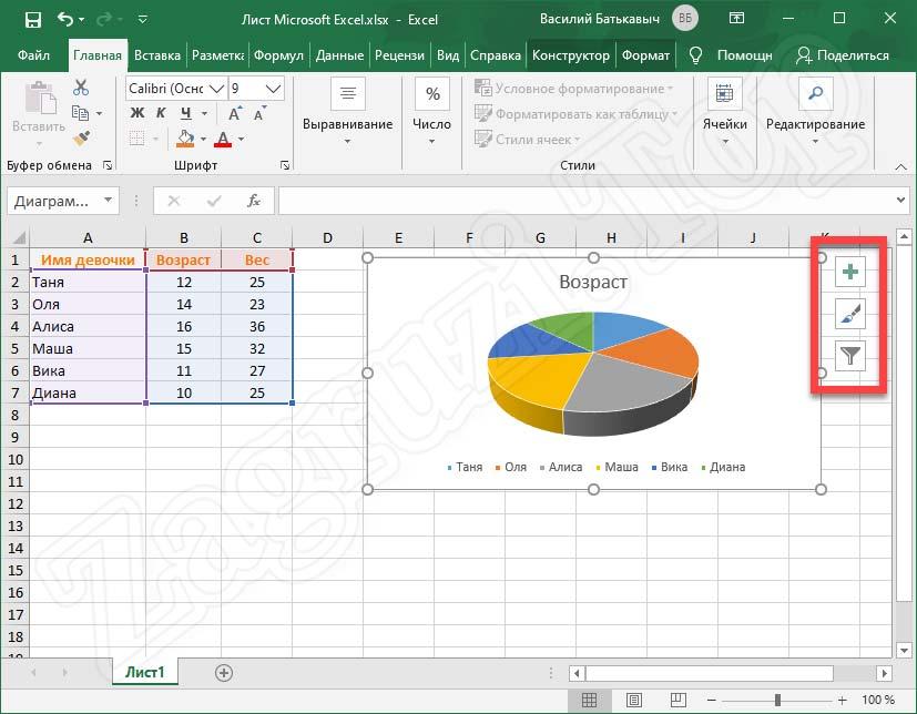 Кнопки настройки диаграммы Excel