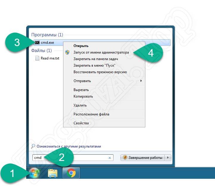 Запуск командной строки от имени администратора в Windows 7
