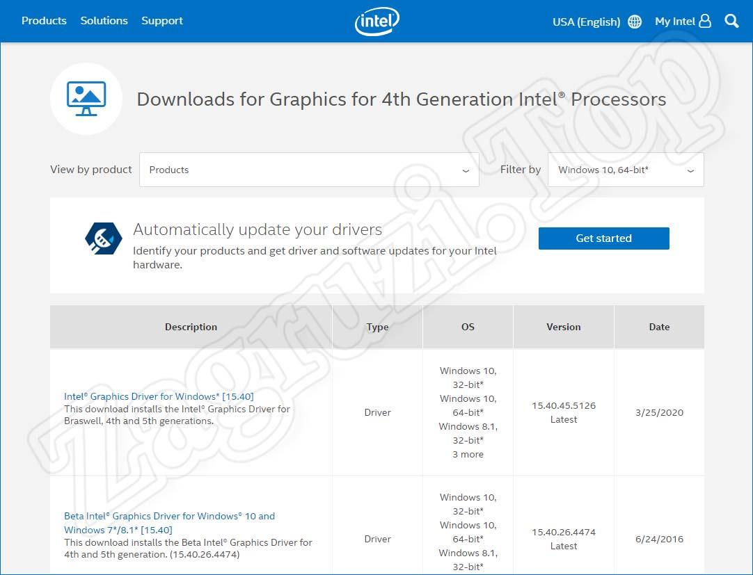 Поиск драйвера Intel HD-графики
