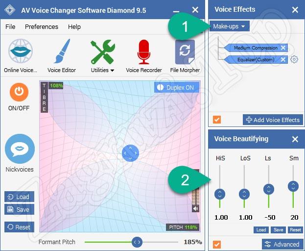 Голосовые эффекты и эквалайзер в AV Voice Changer Diamond