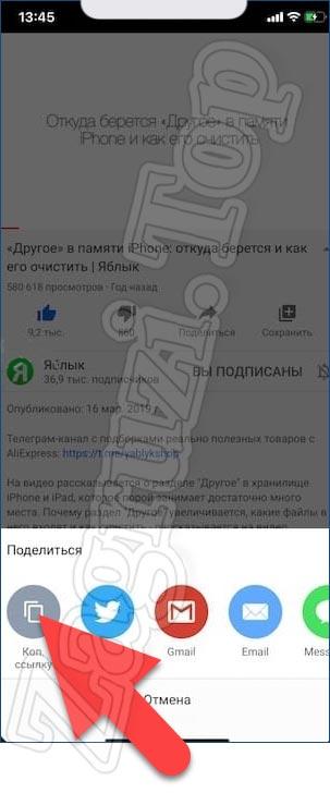 Кнопка копирования ссылки на iPhone