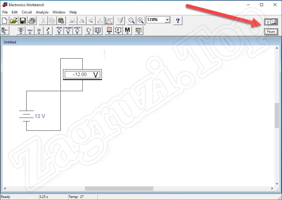 Кнопка включения, отключения и постановки на паузу схемы в Electronics Workbench