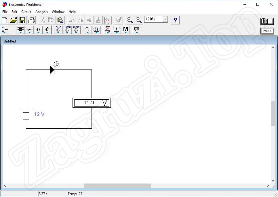 Падение напряжения при подключении потребителя к схеме Electronics Workbench