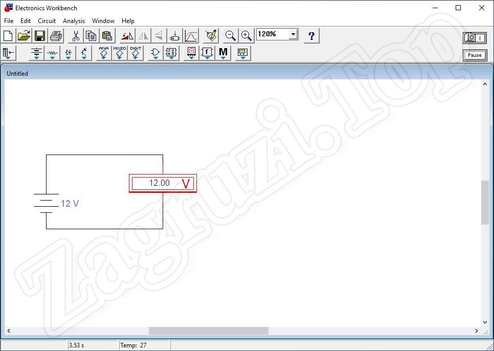 Положительное напряжение после замены проводников в Electronics Workbench