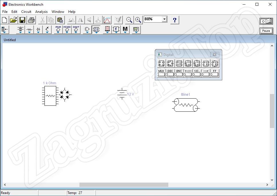 Программный интерфейс Electronics Workbench