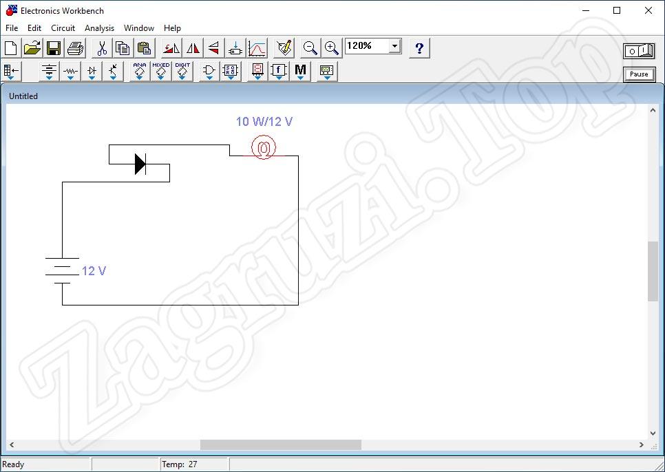 Простейшая электронная принципиальная схема в Electronics Workbench