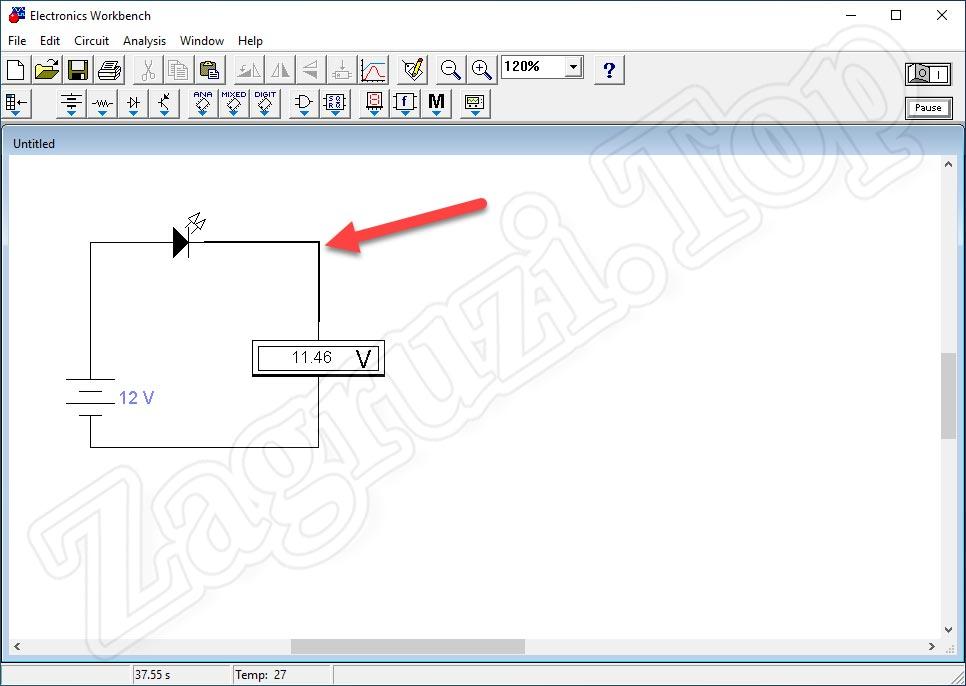 Выделение проводника в Electronics Workbench