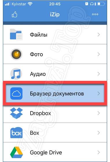 Запуск браузера документов в iZip