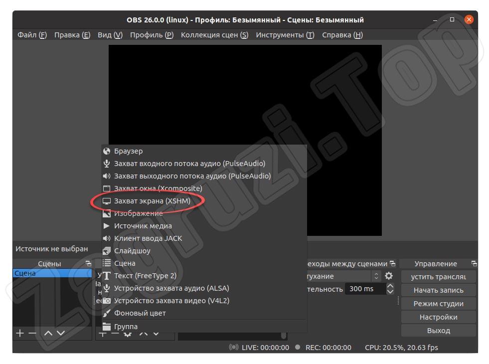 Добавление источника захвата экрана в OBS на Linux