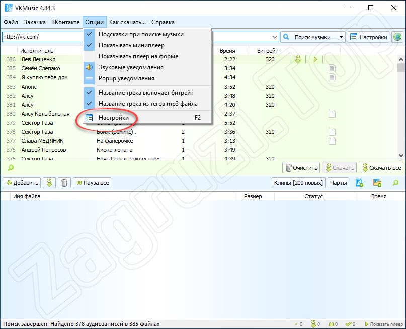 Настройки программы для скачивания музыки из ВКонтакте