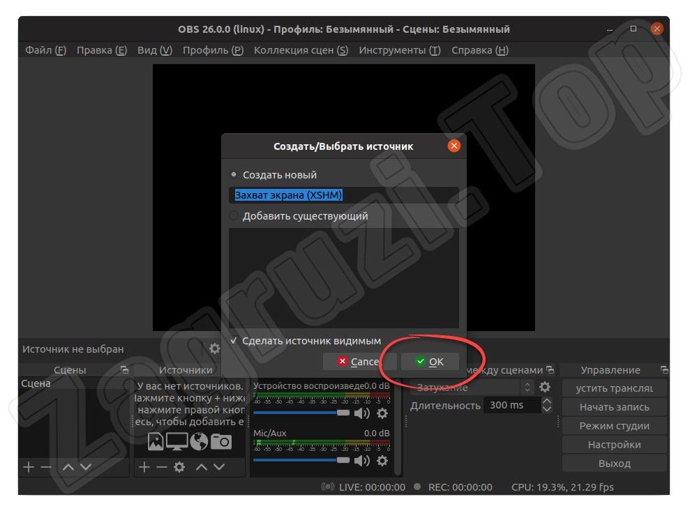 Подтверждение добавления источника захвата экрана в OBS на Linux