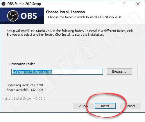 Путь установки OBS на Windows