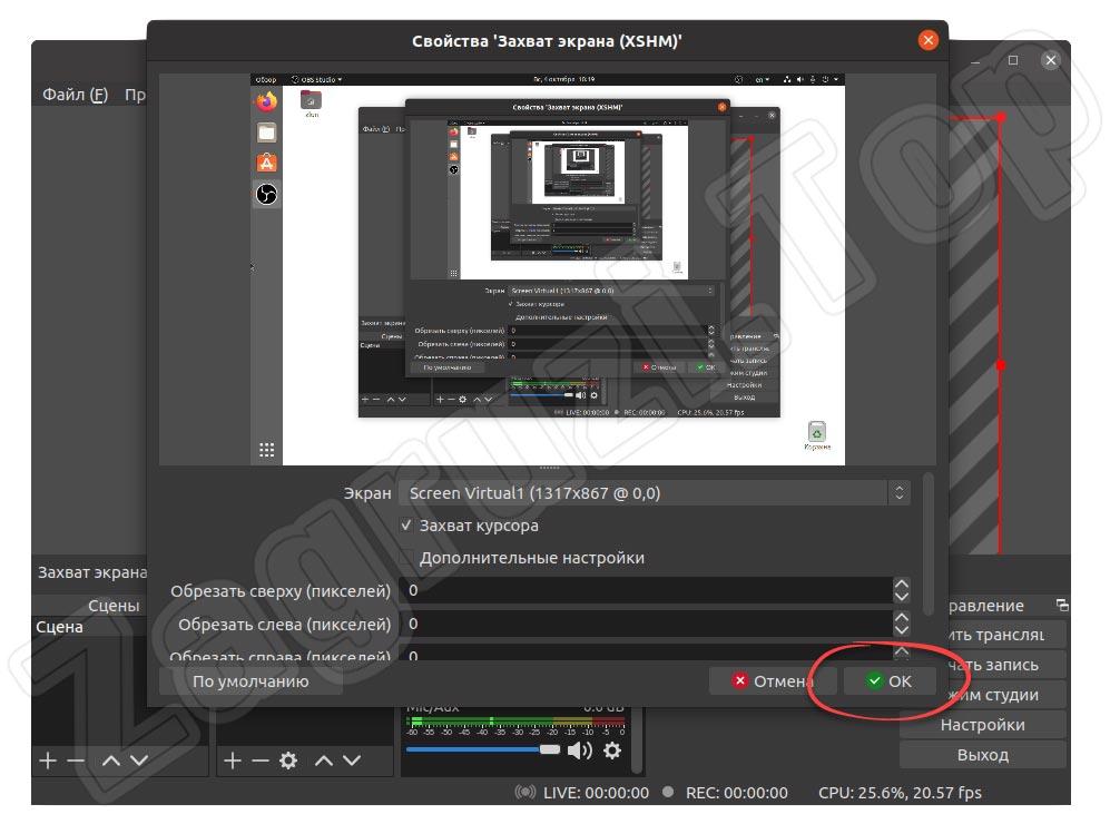 Второй этап подтверждения добавления источника захвата экрана в OBS на Linux