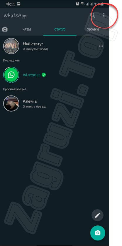 Меню WhatsApp