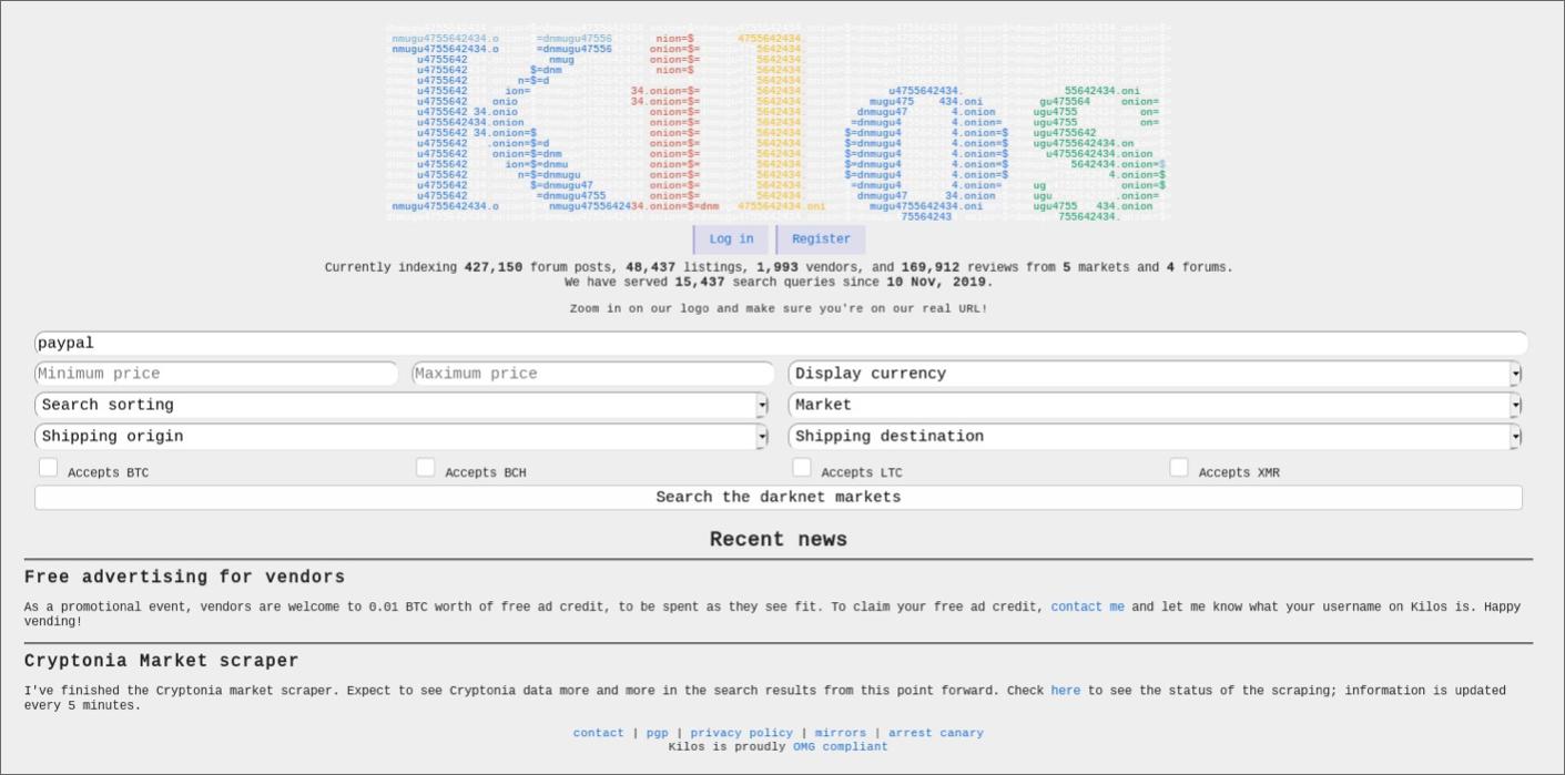 Поисковик для Tor Kilos