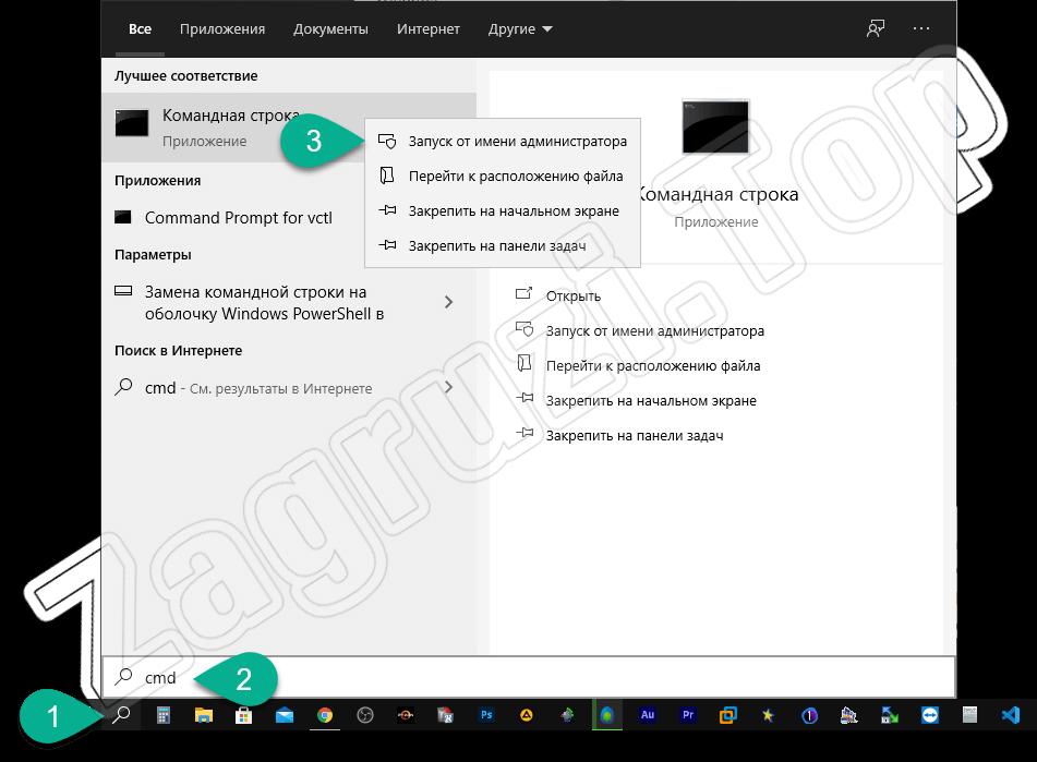 Запуск командной строки от имени администратора в Windows 10