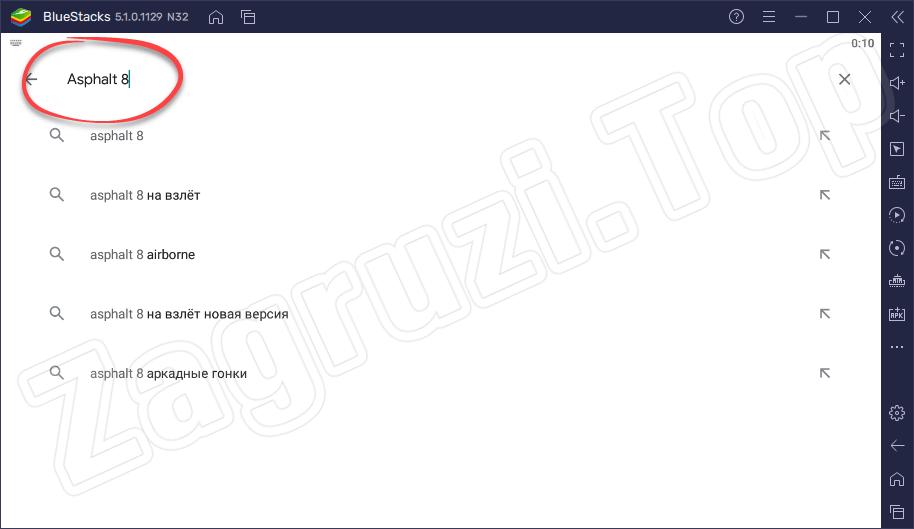Поиск Asphalt 8 в Google Play на BlueStacks